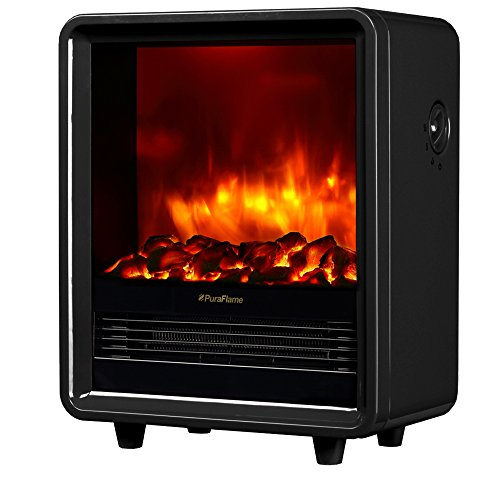Mini Black Fireplace Screen - PuraFlame 12 Inches Octavia Portable Electric Fireplace Heater, 1500W, Black