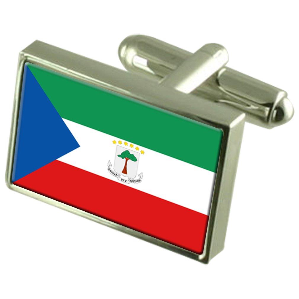 Equatorial Guinea Sterling Silver Flag Cufflinks