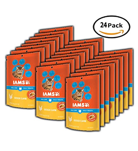 PACK OF 24 - IAMS PROACTIVE HEALTH Oral Care Daily Treats for Cats Chicken Flavor 2.47 Ounces by Iams