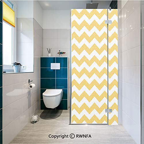 RWNFA Removable Static Decorative Privacy Window Films Modern Summer Season Pattern Zigzag Tile Design Wavy Horizontal Motif Decorative for Glass (23.6In. by 70.8In),Yellow and White