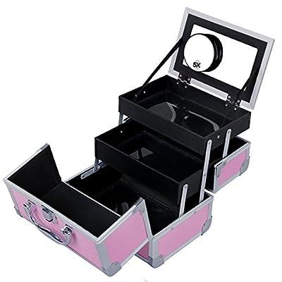 SONGMICS Portable Makeup Train Case Mini Alumi Cosmetic Organizer Box with Mirror 2 Trays