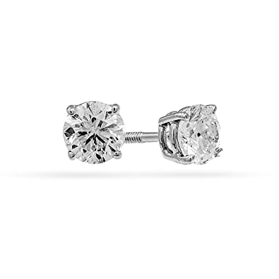 a62e7eb38 1.0 4/4 Carat Total Weight Round Diamond Stud Earrings 14K White Gold IGI  Certified