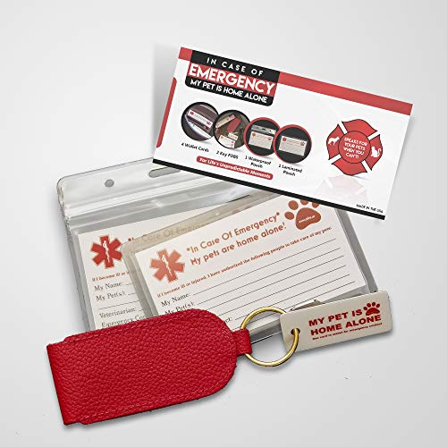OFTO ICE Kit - 4 Wallet-Sized In Case of Emergency Contact Cards, 2 My Pet is Home Alone Key Fobs, a Waterproof Pouch & Self-Sealing Laminated Pouch -Use as Personal, Family, Pet Care Cards USA MADE