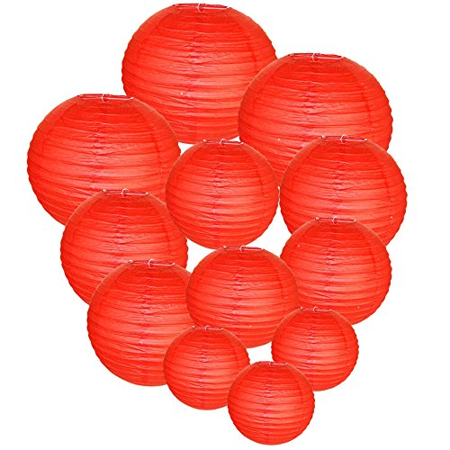 Just Artifacts Decorative Round Chinese Paper Lanterns 12pcs Assorted Sizes (Color: Red)