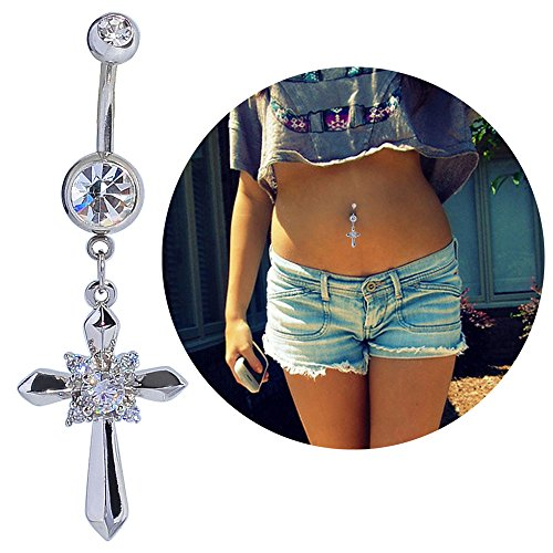 Dangle Curved Barbell (14g Belly Button Navel Ring Surgical Steel Dangle Curved Barbell Silver Cross Bananabell platinum)