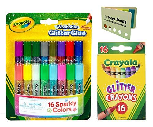 Crayola Washable Mini Glitter Glue (16 Count) Glitter Crayons (16 Count) | Includes 5 Color Flag Set (Glue Crayola Glitter)