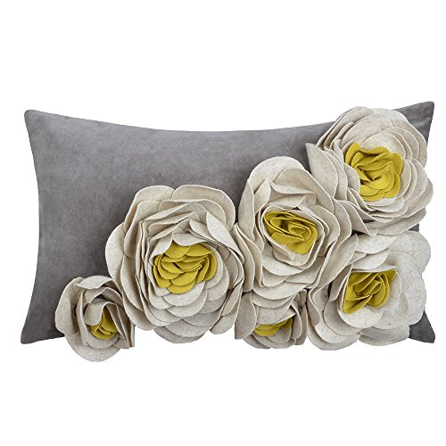 JWH Handmade 3D Rose Flowers Accent Pillow Case Wool Decorative Cushion Cover Home Sofa Car Bed Living Room Decor Pillowcase Gift 12 x 20 Inch Yellow