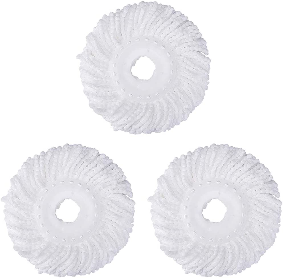 3 Pack Replacement Mop Micro Head Refill Hurricane for 360° Spin Magic Mop-Microfiber Replacement Mop Head-Round Shape Standard Size