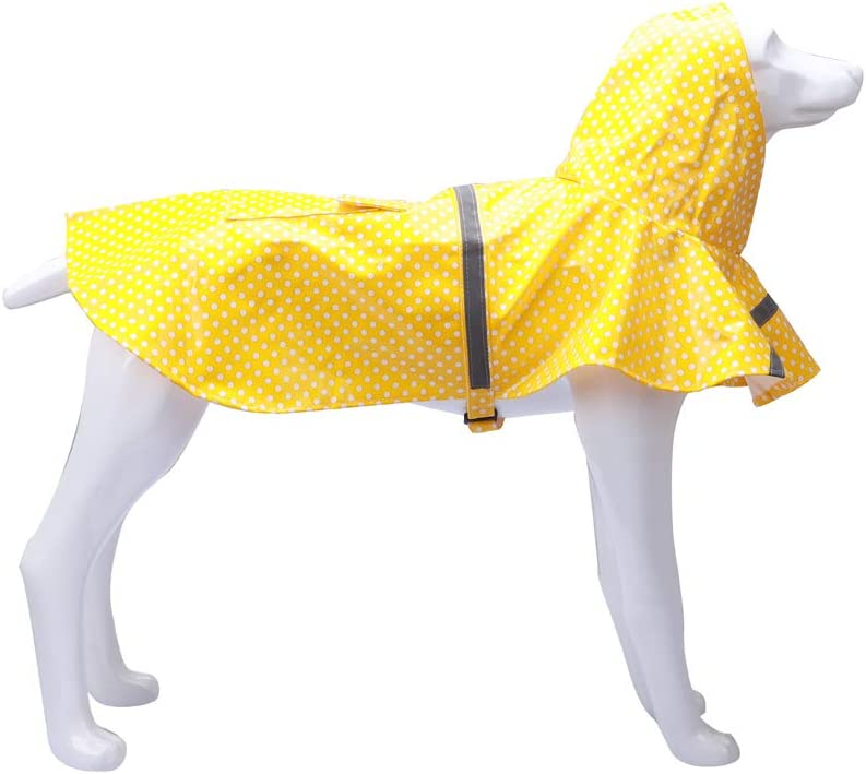 Multiple Size for puppy or Large Dogs. Premium Pet Raincoat with Hood Lightweight Dog Raincoat in Speckled Blue Adorable Rainwear for Puppies M.Q.L