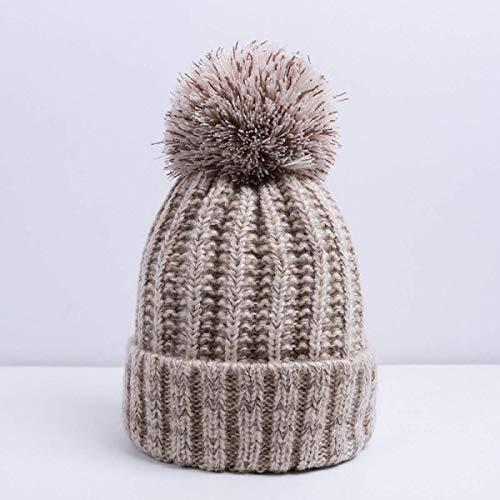 HOMES1- Winter Hats- Winter Hats- Pom Pom Hat for Women Grils Skullies Women's Beanies Warm Knitted Hat Female Winter Cap Brand Women Beanie Hat Wholesale A1 Beige