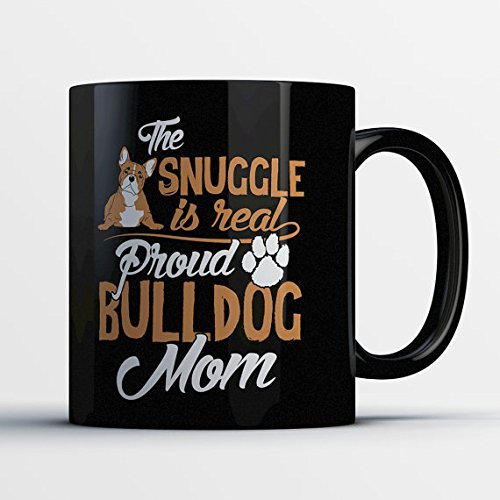 ulldog Mom Mug - Funny English Bulldog Coffee Cup for Her (Grand Flora Stone)