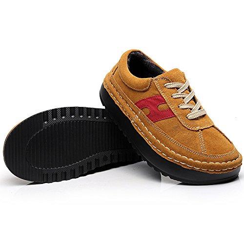 Shenn Mujer Plataforma Casual Comodidad Ante Entrenadores Zapatillas Zapatos 2602 Broncear