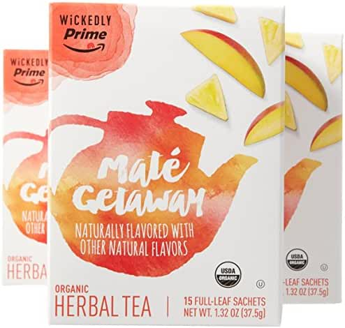 Wickedly Prime Organic Tea, Maté Getaway, 15 Count (Pack of 3)