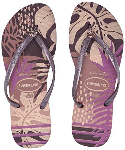 Havaianas Women's Slim Foliage Flip Flop Sandal,Aubergine, 39/40 BR(9-10 M US Women's / 8 M US Men's)