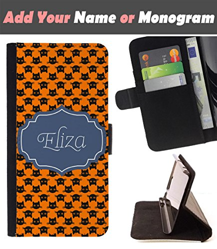 [ Customize Your Case ][ HTC U PLAY ] Personalized Monogram Name Leather Wallet Flip Cover - Black Halloween -