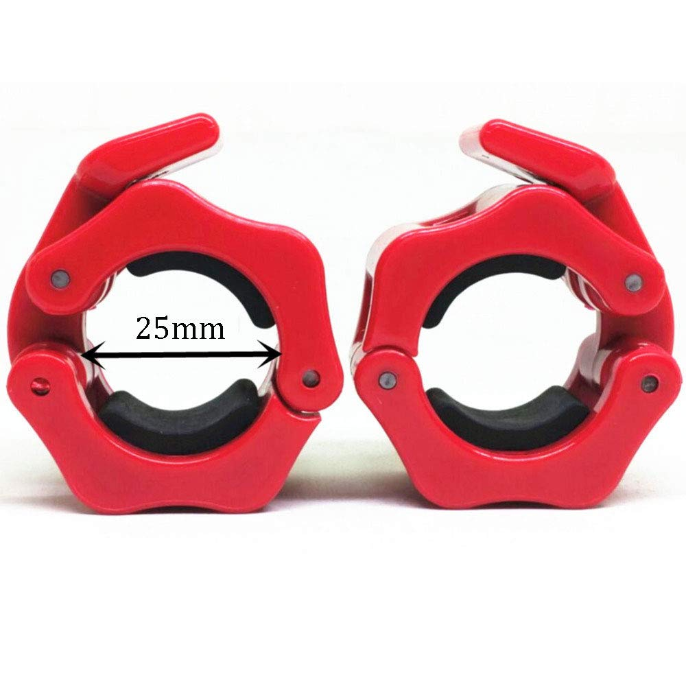 Weightlifting Barbell Clamp Collar-Olympic Barbell Collars-Quick Release 2 Pair of Locking 1Inch Olympic Bar - Great for Cross Fitness Training,Red by GDSZ (Image #2)