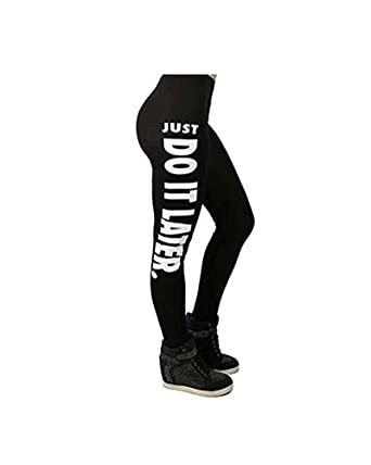 Womens Ladies Exercise Training Running JUST DO IT LATER Print Workout Leggings