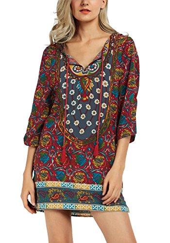 Women Bohemian Neck Tie Vintage Printed Ethnic Style Summer Shift Dress (Large, Pattern 10)