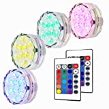 AKDSteel Submersible LED Light, RGB Multi Color Waterproof Battery Powered Lights with 10 LED and Remote Controller for Aquarium, Vase, Swimming Pool, Pond, Garden, Party, Weeding, Christmas - 4 Pack