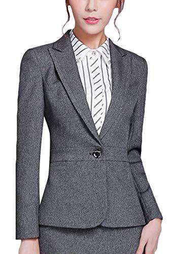 Bavero Lunga Button Ovest Autunno Alta Fit Qualità Business Di Giaccone Coat Giovane Giacca Da Tailleur Donna Manica Slim Casual Grau qzfBfxwCS