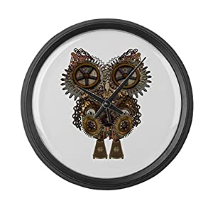 CafePress – Large Steampunk Owl – Large 17″ Round Wall Clock, Unique Decorative Clock
