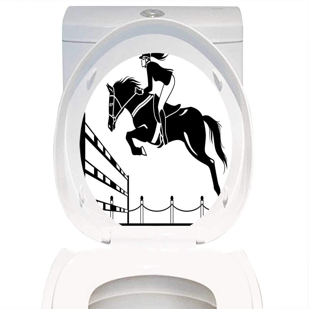 Qianhe home toilet seat wall stickers paper cartoon racing horse with a jockey girl jumping above barrier barn farming image print black and white