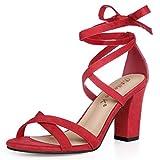 Allegra K Women's Lace-up Block Heel Red Sandals - 9 M US