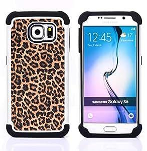 For Samsung Galaxy S6 G9200 - leopard pattern fur brown golden Dual Layer caso de Shell HUELGA Impacto pata de cabra con im????genes gr????ficas Steam - Funny Shop -
