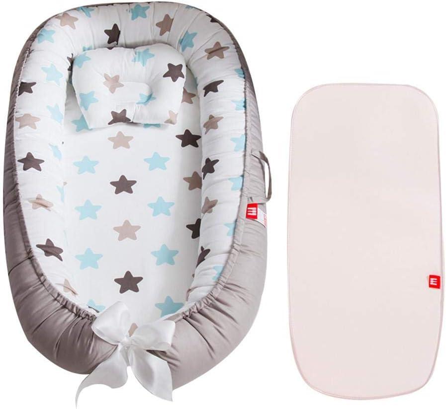 R/éducteur de Lit Nouveau-N/é avec Petit Oreiller Nid Cocon Bebe HAMKAW Baby Nest Cocon Tapis Cale Bebe Portable Amovible 88x53cm
