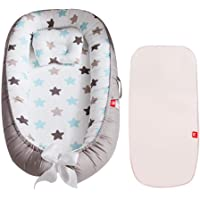 Volwco Newborn Lounger,Small Pillow mat - Portable Breathable Baby Snuggle Nest,Removable Cover Baby Bionic Bed,Cotton Soft and Breathable Printed Baby Snuggle Crib for Bedroom/Travel/Camping