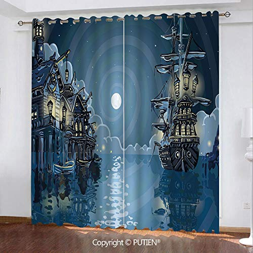 Satin Grommet Window Curtains Drapes [ Pirate,Fantasy Adventure Island Faery Mystery Ships Pirate Cove Bay Swirled Moon Rays Decorative,Blue White Green ] Window Curtain for Living Room Bedroom Dorm ()