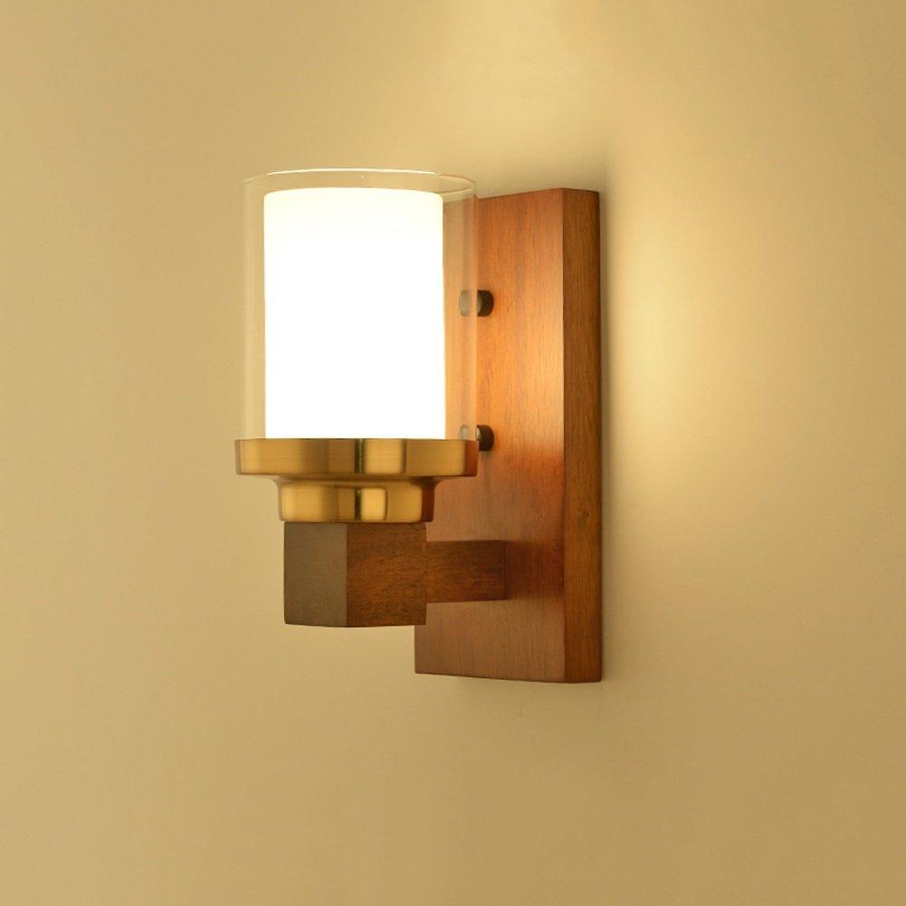 Moderne Wandleuchte Holz Schlafzimmer Nacht Eingang Korridor 26cm  12cm E27