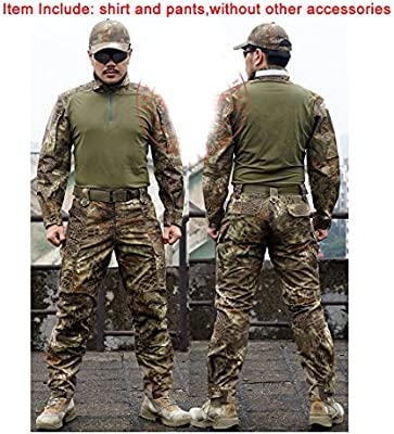 ATAIRSOFT camiseta y pantalones tácticos para hombre BDU de combate uniforme para deportes al aire libre, militar, airsoft, paintball, juegos de guerra, tiro, marrón, verde, X-Large: Amazon.es: Deportes y aire libre