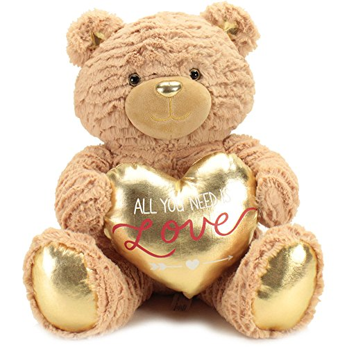 Plush Brown Bear with Gold Heart Large (Where To Buy Big Teddy Bears)