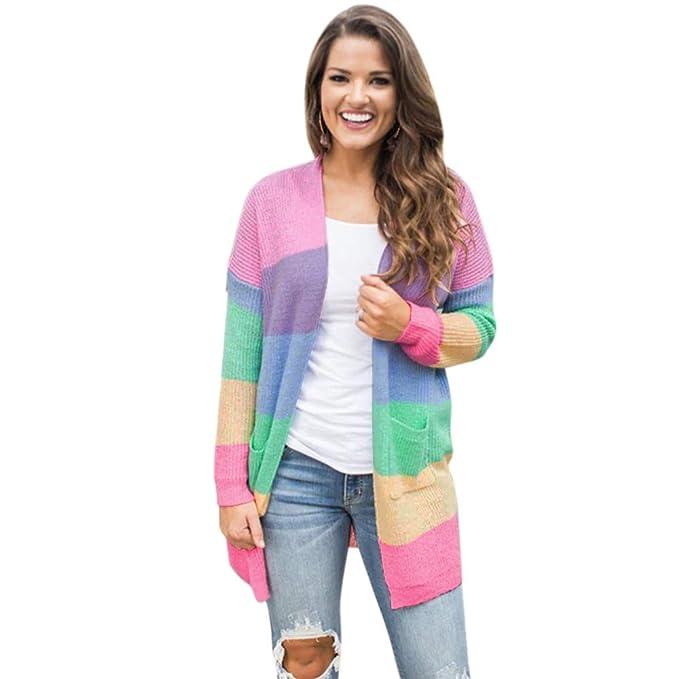 SODIAL Autumn Winter Ladies Streetwear Sweater Coat Knitted Sweater  Cardigan Long Sleeve Rainbow Stripe Casual Pocket 6e9209b63f30