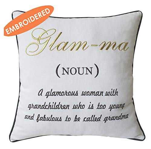 DecorHouzz Glamma Embroidered Pillow case Decorative Cushion Cover Grandmother Gift Nana Throw Pillow case Birthday Gift, Grandma Pillow cover, Me-Ma (14x14, Glamma)