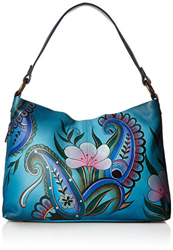 Anna by Anuschka Hand Painted Leather Women's Large Shoulder HOBO, Denim Paisley Floral ()