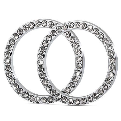 2Pcs Car Decor Crystal Rhinestone, Auto Engine Start Stop Decoration Crystal Interior Ring for Dodge Charger, Challenger, Dakota, Rims, Viper, Dart, Journey, Ram 1500 2500 3500, Journey, Durango,etc