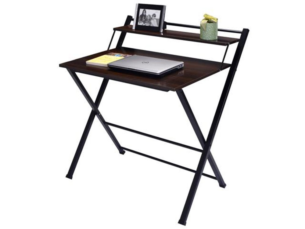 2-Tier Folding Computer Desk Home Office Furniture Workstation Table Study Anbeaut