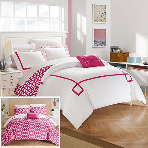 Chic Home 8 Piece Kendall ContemporaryREVERSIBLE Queen Bed In a Bag Duvet Set Fuchsia With sheet set (Comforter Set Kendall)