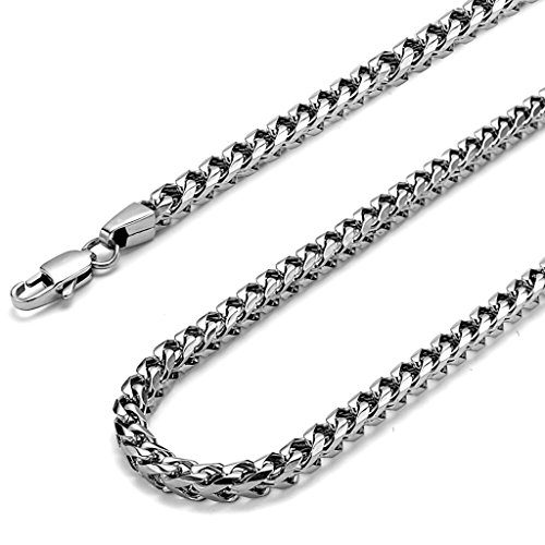 FIBO STEEL 6mm Thick Curb Chain Necklace for Men Stainless Steel Biker Punk Style, 20