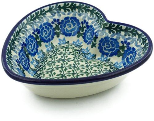 - Polish Pottery 5½-inch Heart Shaped Bowl made by Ceramika Artystyczna (Blue Rose Trellis Theme) Signature UNIKAT + Certificate of Authenticity
