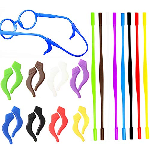 16 Pack Kids Sports Eyeglasses Straps Comfortable Silicone Anti-slip Holder for Glasses, Most Popular Colors - Pack of ()