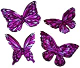 [4 Count Set] Custom and Unique Small Assorted Cute Garden Wildlife Artistic Abstract Fluttering Stained Glass Butterflies Iron On Embroidered Applique Patch {Pink & Black Colors}