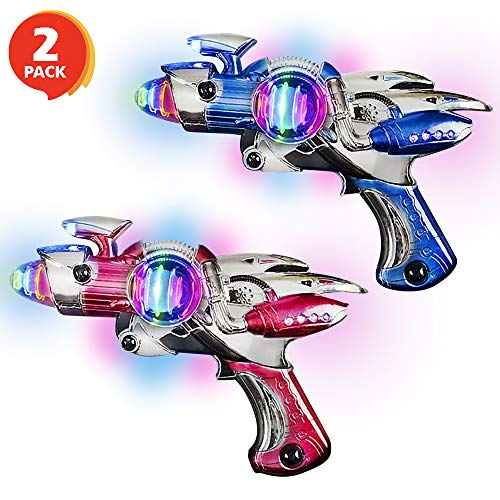 - ArtCreativity Red and Blue Super Spinning Space Blaster Laser Gun Set with Flashing LEDs and Sound Effects - Pack of 2 - Cool Futuristic Toy Guns - Batteries Included - Great Gift Idea for Kids