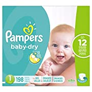 Pampers Baby-Dry Disposable Diapers Size 1, 198 Count, ECONOMY