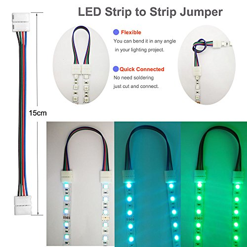 FSJEE 10mm 5050 RGB LED Strip Light Connectors Kits with 10PCS L Shape 4 Pin Right Angle Corner Solderless Connector and 10PCS Solderless Wire 4 Pin 10mm Wide Strip to Strip Jumper by FSJEE (Image #4)