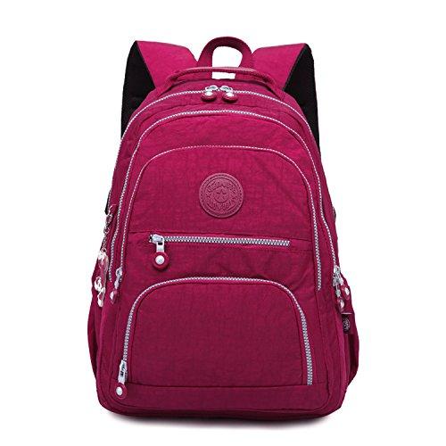 Foino Rucksäcke Lässige Schultertasche Schul Rucksack Mode Tasche Reisetasche Schulrucksack für Damen Schultaschen Laptoptasche Leichter Rot 4 i6sdaqqn