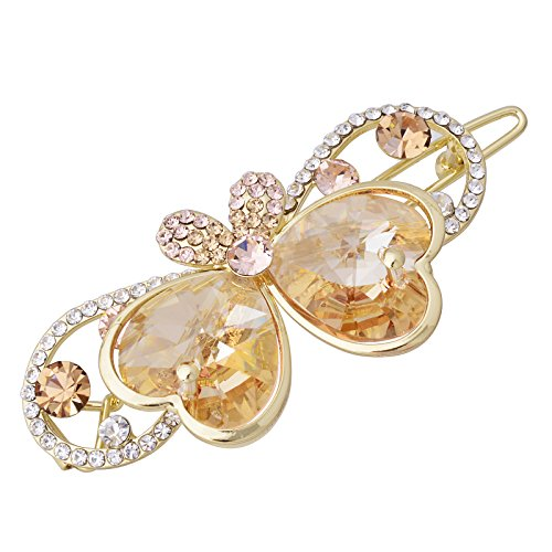OBONNIE Women's Sparkly Swarovski Element Crystal Butterfly Bowknot Hair Barrette Clip Hair Accessary (Champagne)