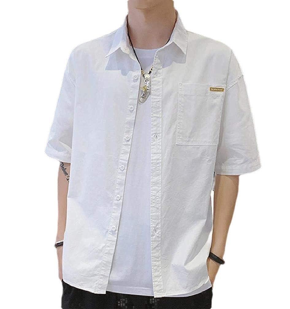 Fseason-Men Skinny Short Sleve Button Solid Colored Shirt Blouse Tops